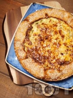 Киш (пай) с тиквички, царевица, чушки и сирене крема - снимка на рецептата
